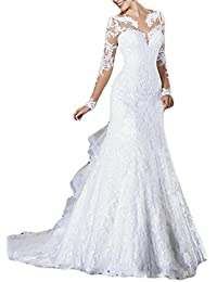 Vintage vestidos de novia Long Sheer Sleeves Lace Bridal Gowns For Women M0160