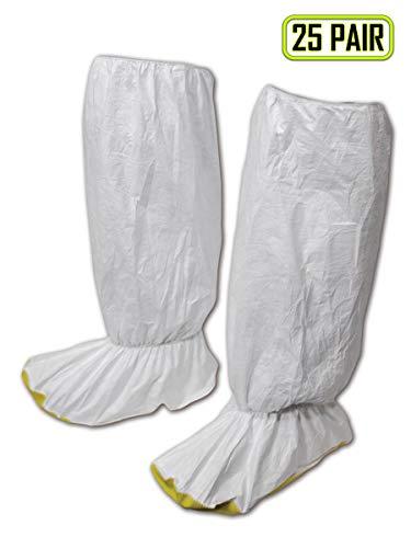 Magid SC116XXXL EconoWear Disposable Tyvek Knee High Boot Covers with Yellow Vinyl Sole, 3XL, White (25 Pairs)