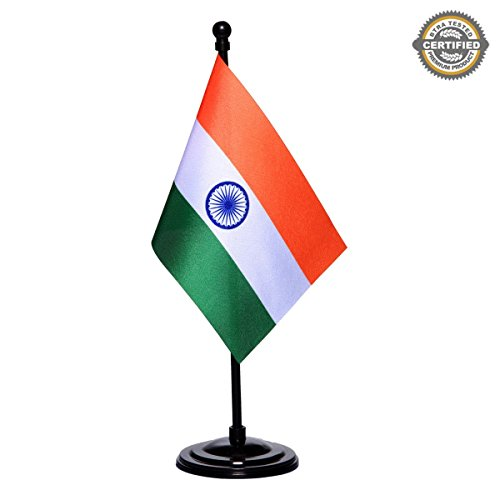 Indian Miniature Table Flag with A Black Plastic Round Base by The Flag Shop