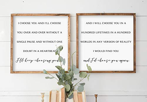 I Choose You Master Bedroom Decor Couples Gift Duo Sign Saying Quote Decor Love Sign Wood Framed signs Newlywed Gift Anniversary Gift