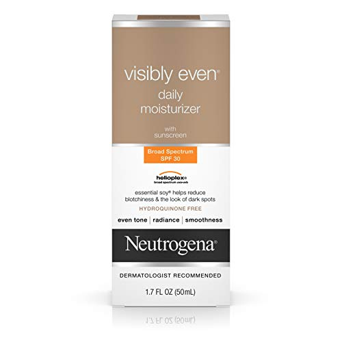 Neutrogena Visibly Even Daily Facial Moisturizer With Broad Spectrum SPF 30 Sunscreen, Essential Soy for Skin Discoloration, Dark Spots, and Even Skin Tone, Hypoallergenic, 1.7 fl. ()