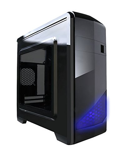 APEVIA X-QTIS-BK Micro ATX Gaming/HTPC Case, Supports Video Card up to 340mm/ATX PS, 1 x Window, USB3.0/USB2.0/HD Audio Ports, 1 x 120mm Blue LED fan, Dust filter, Black
