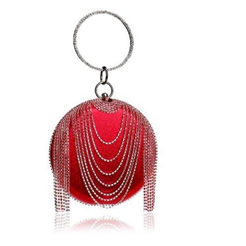 Señora Nuevo Borla Redondo Sólido Elegante Bolso Diamante Dama De Honor Fiesta Bolso De Noche Red