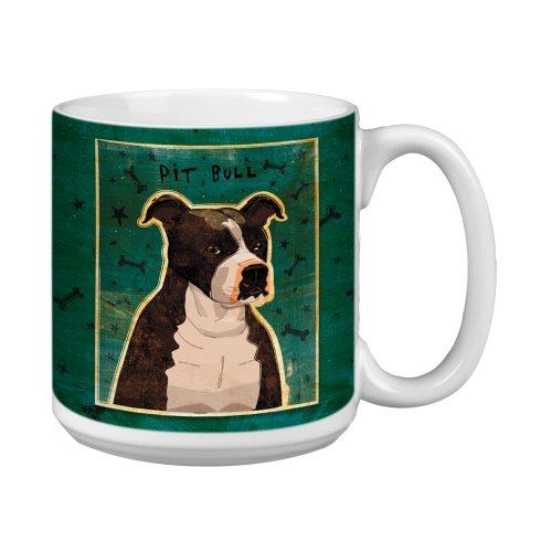 (Tree-Free Greetings XM28016 John W. Golden Artful Jumbo Mug, 20-Ounce, Brindle Pit Bull)