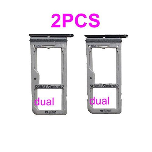 Dual Sim Card & Micro SD Holder Slot Tray Replacement for Samsung Galaxy S8 G950A G950V G950T G950P G950 / S8 Plus S8+ G955A G955V G955T G955P G955 + PHONSUN Portable Cellphone Holder