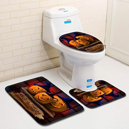 Hot Sale!DEESEE(TM)Halloween Pumpkin lantern Toilet Seat Cover and Rug Bathroom Set Halloween Decor (H)]()