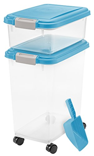 (IRIS USA, Inc. 3- Piece Airtight Pet Food Storage Container Combo, Blue Moon)