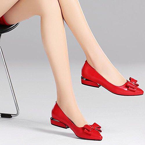 Taille Dames Caleçon Filles Flâneur Profond Aux Chaussures Peu Travail CJC sur Bureau Bouche Red Faible Femmes EU36 Talon Black Confort Couleur Fête UK4 Iwx8Httq