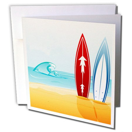 3dRose A Scene Of The Ocean With Two Surfboards - Greeting Cards, 6 x 6 inches, set of 12 (gc_159028_2)