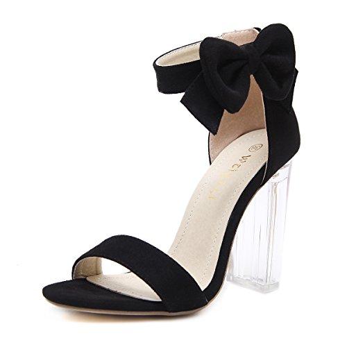 JIEEME Ladies Sexy Block Heels High Heels Zipper Women Sandals Black Apricot Party Women Shoes Black