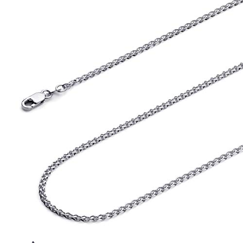 - Wellingsale 14k White Gold SOLID 2mm Polished Flat Open Wheat Chain Necklace - 24