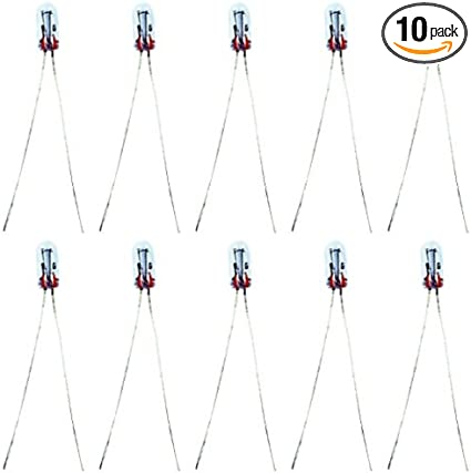 100 pieces Chicago Miniature T-1 7219 Lamp Incandescent Wire Leaded 12V 3mm Light Bulb
