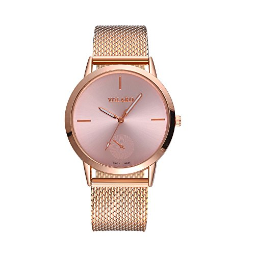 Price comparison product image Analog Quartz Watch Alarm, Fashionable High Hardness Glass Mirror Men and Women General Mesh Belt Watch, Girls' Watches, Rose Gold, Women Watches