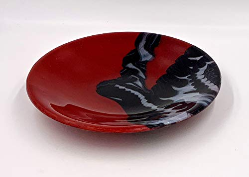 Abstract Red Art Glass Bowl With Black and Gray Design - Oregon Art Glass