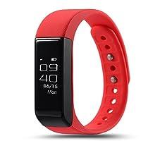 Monitor de ritmo cardíaco del pulso con la presión arterial, ROGUCI OLED de 0,86 pulgadas podómetro corazón medición de la frecuencia de la presión arterial monitor, monitor de presión arterial Control de actividad aptitud del reloj Tracker con conectividad Bluetooth y llamadas telefónicas, mensajes de texto, mensajes de WhatsApp, los mensajes de Twitter para Android 4.3 teléfono o iOS 8.0 teléfonos inteligentes