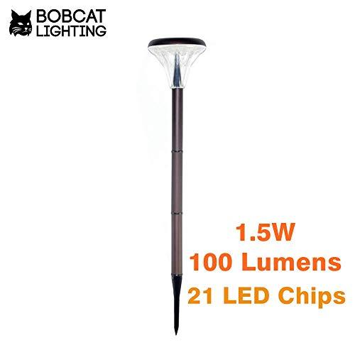 Bobcat Lighting LED Solar Path Light - Super Bright Outdoor Pole Pathway 1.5W Lamp Stake Light- Warm White 3000K, 100 Lumens, Waterproof Landscape Lighting for Patio Yard Deck Path Lawn Backyard- 4 Pk by Bobcat Lighting (Image #1)