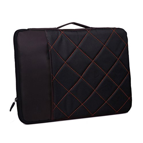 Greenery Stylish Grid Pattern Compact Slim Design 13-15inch Protective Laptop PC iPad Macbook Bag Business Briefcase Hand Carrying Tote Holder Crossbody Bag-Black, 15''