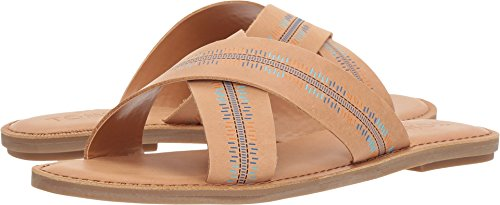 TOMS Womens Viv Denim Chambray Sandal Honey Leather/Emossed i9pT60