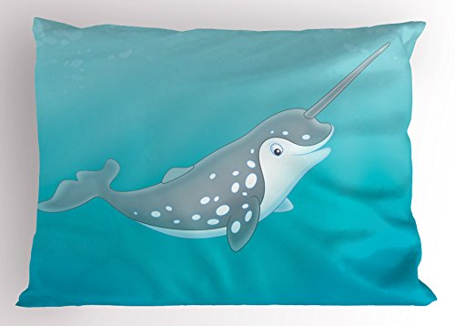 """Ambesonne Narwhal Pillow Sham, Cartoon Style Drawing of an Arctic Narwhal Whale with White Spots Aquatic, Decorative Standard Queen Size Printed Pillowcase, 30"""" X 20"""", Seafoam White"""