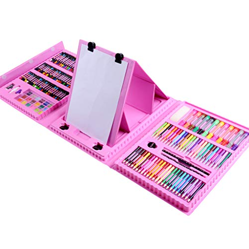 Zywtrade Children's Watercolor Brush Crayon Stationery Set Gift Box Painting Prizes Summer Training Gift Birthday Gift 176 Pieces Easel,Pink by Zywtrade (Image #3)
