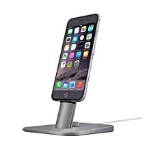 Spinido TI-SET Luxury Adjustable Desktop Charging Dock Stand for iPhone 6S/6S /iPad mini and Samsung Galaxy Tab S6 and Android smart phones With 2 Kinds of USB cables (Vogue Space Gray)