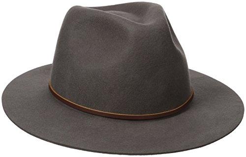 Brixton Men's Wesley Medium Brim Felt Fedora Hat, Charcoal, Large