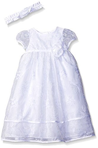 Picture Perfect Girls' Baby Floral Embroidered Organza Christening Dress, White, 3-6 Months