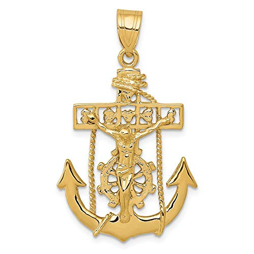 14k Yellow Gold Nautical Anchor Ship Wheel Mariners Cross Religious Pendant Charm Necklace Mariner Fine Jewelry Gifts For Women For Her ()