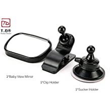 Baby Car Mirror 2 in 1 Mini Safety Baby View Mirror Reverse Safety Seats Mirror 360 Adjustable - Trolax