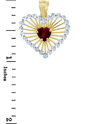 10 ct 471/1000 Or - Rouge Coeur Deux Ton Or Pendentif