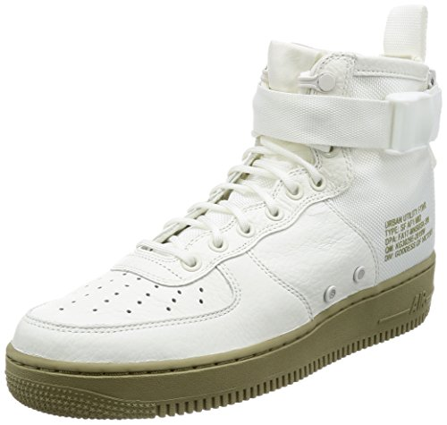 NIKE Men's SF Air Force 1 Mid Shoe (Ivory/Ivory-Neutral Olive) 917753-101, Sneaker Uomo Nero Black US 7 - EU 40 - UK 6
