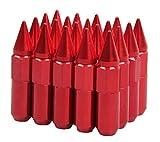 EKYAOMEI Aluminum Spike 20Pieces Wheel Lug Nut 60mm 12x1.25 Mounted Extend Nut Refit Hex Lug Nut (Red, 12X1.25)