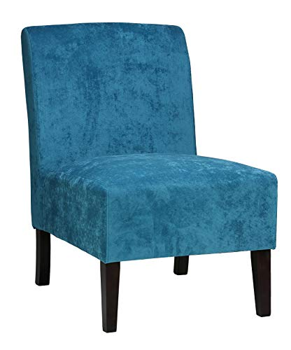 Cortesi Home Chicco Armless Accent Chair, Blue - Armless accent chair Upholstered in a sky blue fabric Solid wood frame and legs - living-room-furniture, living-room, accent-chairs - 41Tbpwg10kL -