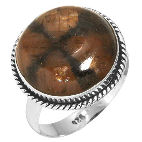 Solid 925 Sterling Silver Women Jewelry Natural Chiastolite Cross Stone Gemstone Ring Size 9.5