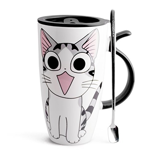 Neolith Cute Cat Style Ceramic Mugs with Lid & Spoon Cartoon