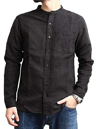 Makkrom Mens Slim Fit Long Sleeve Shirts Linen Cotton Button Down Banded Collar Casual Summer Beach Shirt Black
