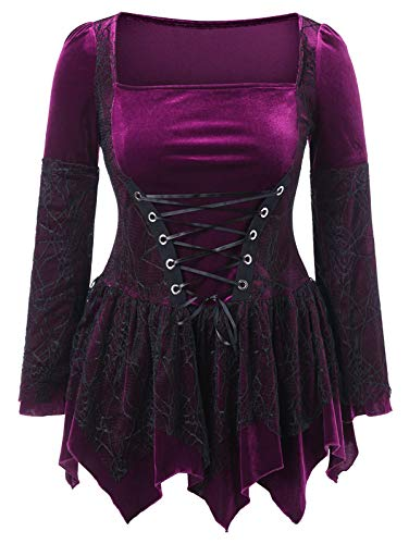 KCatsy Plus Size Halloween Lace Up Handkerchief -