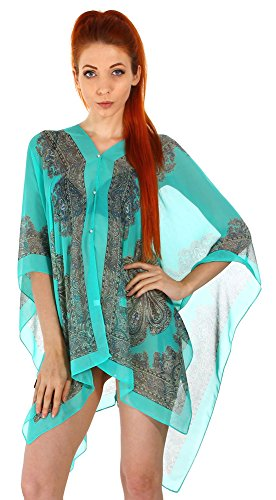 Women's Multifunctional Sunscreen Swimwear Cover Up Beachwear with Buttons,Teal