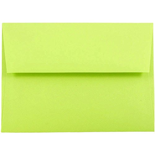 "JAM Paper A7 Invitation Envelopes- 5 1/4"" x 7 1/4"" - Brite Hue Ultra Lime Green - 25/pack"