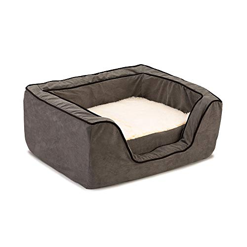 Snoozer Pet Products - Luxury Square Dog Bed with Memory Foam | X-Large - Anthracite/Black