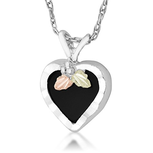 8X8 mm Heart Shaped Onyx Black Hills Silver Heart Necklace in Sterling (Black Hills Gold Onyx Necklace)