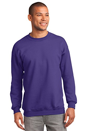 Port & Company Mens Tall Ultimate Crewneck Sweatshirt, Purple, Large Tall