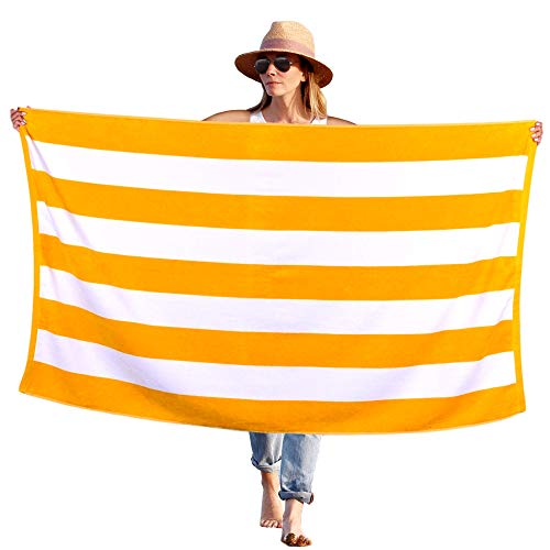 Peach B&C - Beach Towel Cabana Terry Velour Soft Turkish Cotton - Extra Absorbent - Quick Fast Drying - Sand Free - Perfect for Beach Bath Travel Pool Sports Spa -