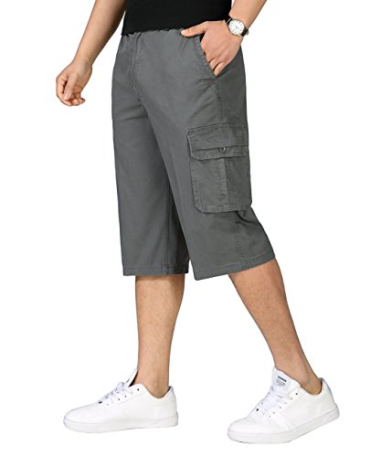 Rdruko Men's Cotton Casual Cargo Shorts Loose Fit Outdoor Wear Twill Elastic Waist Shorts with Pockets