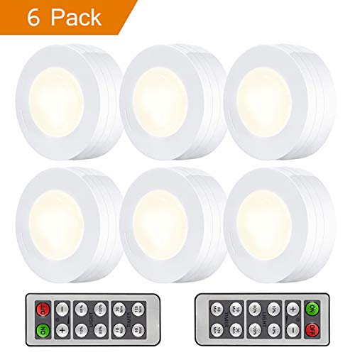 Lighting Puck - Arvidsson LED Under Cabinet Lighting, Wireless LED Puck Lights with Remote, Closet Light Battery Operated, Dimmable Under Counter Lights for Kitchen, Natural White - 6 Pack