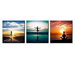 3 Panels Seaside Painting Do Excerise Yoga on the Beach Picture Printed on Canvas Wall Art for Home Decoration Stretched and Framed Ready to Hang (30x30cmx3pcs)