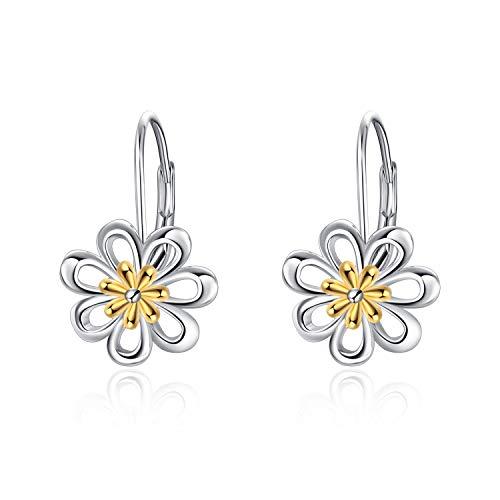 - LUHE Daisy Dangle Earrings for Women Girls 925 Sterling Silver Gold-Tone Filigree Flower Leverback Earrings Hoops(Daisy Dangle Earrings)