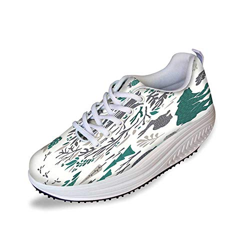 Cabin Decor Stylish Shake Shoes,Hand Sketched Elements of Northern Forest Berries Trees Fish Rabbit Bird Decorative for Women,9