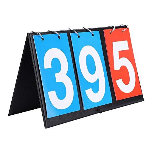 (Portable Scoreboard, 2/3/4 Digit Flip Sports Scoreboard Score Counter for Table Tennis Basketball(3 Digit))