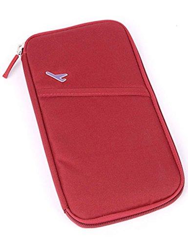 Leaper Tragbare Pass-Halter Reiseorganizer Tasche für Kredit-ID-Karten Bargeld Münzen Pen Flugtickets(Rot)